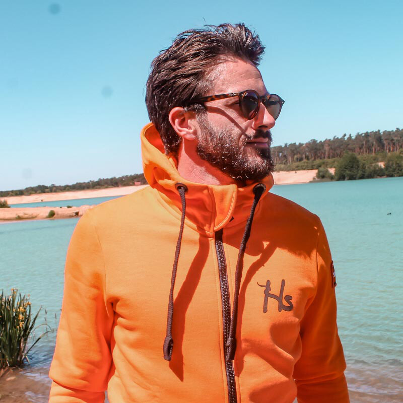 BASIC ZIP-HOODY- orange